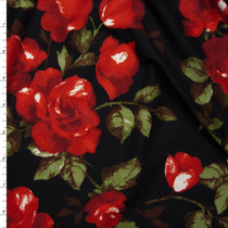 Red Roses and Leaves on Black Double Brushed Poly Spandex Fabric By The Yard