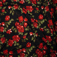 Red Roses and Leaves on Black Double Brushed Poly Spandex Fabric By The Yard - Wide shot