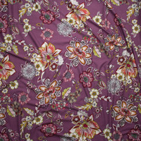 Colorful Ornate Floral on Dusty Lilac Double Brushed Poly Spandex Fabric By The Yard - Wide shot