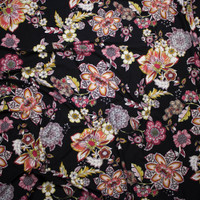 Colorful Ornate Floral on Black Double Brushed Poly Spandex Fabric By The Yard - Wide shot