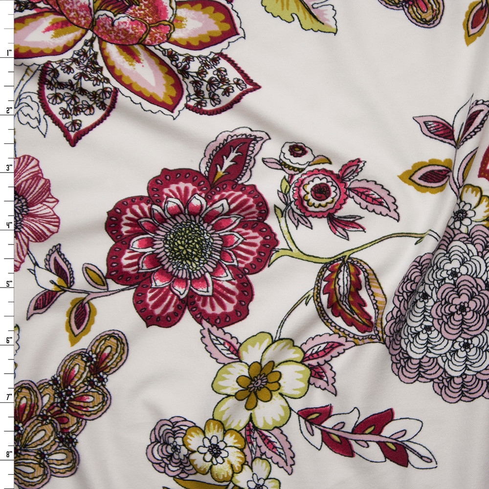 Colorful Ornate Floral on Offwhite Double Brushed Poly Spandex Fabric By The Yard