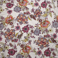 Colorful Ornate Floral on Offwhite Double Brushed Poly Spandex Fabric By The Yard - Wide shot