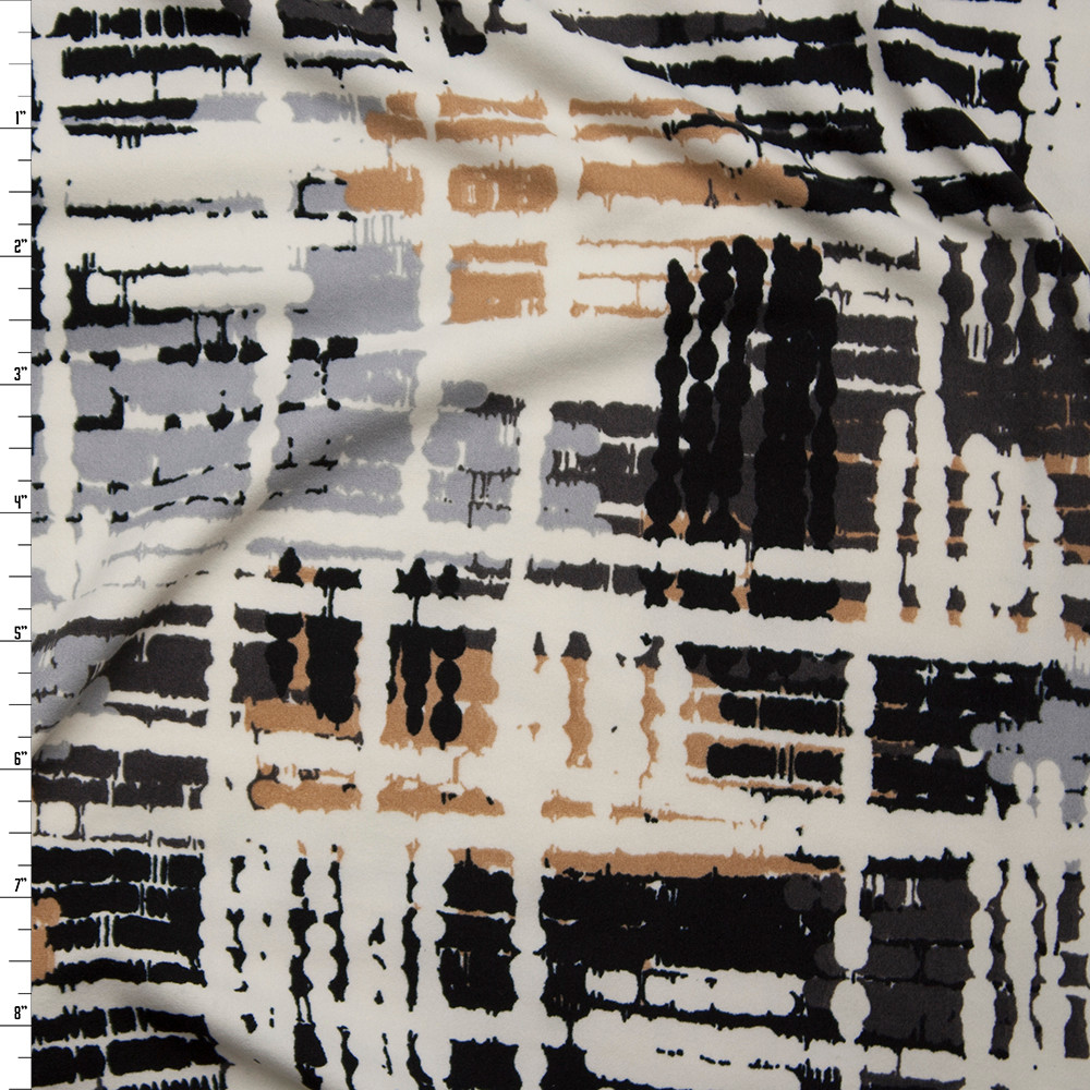 Black, Tan, Ivory, and Grey Grunge Gridlike Pattern Double Brushed Poly Spandex Fabric By The Yard