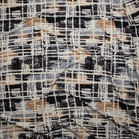 Black, Tan, Ivory, and Grey Grunge Gridlike Pattern Double Brushed Poly Spandex Fabric By The Yard - Wide shot
