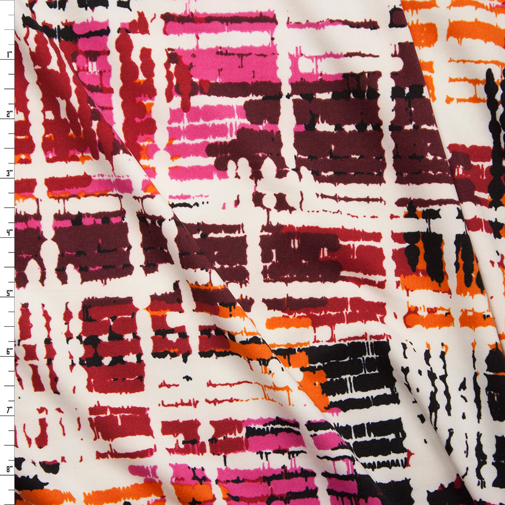 Hot Pink, Wine, Orange, Black, and Ivory Grunge Gridlike Pattern Double Brushed Poly Spandex Fabric By The Yard
