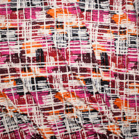 Hot Pink, Wine, Orange, Black, and Ivory Grunge Gridlike Pattern Double Brushed Poly Spandex Fabric By The Yard - Wide shot