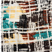 Black, Rust, Cream, Slate, and Ivory Grunge Gridlike Pattern Double Brushed Poly Spandex Fabric By The Yard