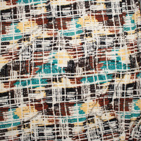Black, Rust, Cream, Slate, and Ivory Grunge Gridlike Pattern Double Brushed Poly Spandex Fabric By The Yard - Wide shot