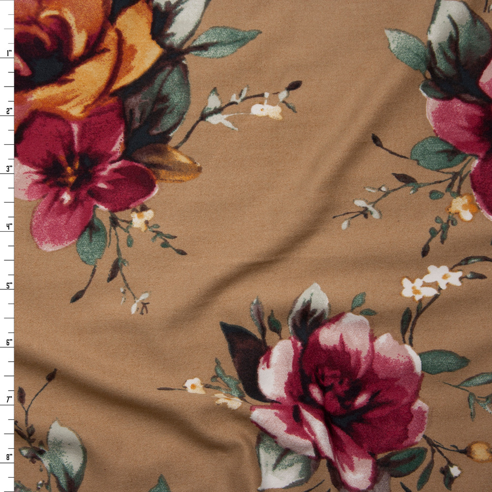 Gold and Magenta Floral on Solid Tan Double Brushed Poly Spandex Fabric By The Yard