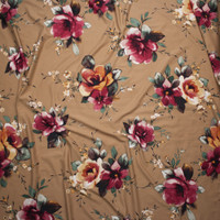 Gold and Magenta Floral on Solid Tan Double Brushed Poly Spandex Fabric By The Yard - Wide shot