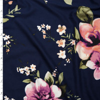 Lilac and Peach Floral on Solid Navy Blue Double Brushed Poly Spandex Fabric By The Yard
