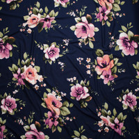 Lilac and Peach Floral on Solid Navy Blue Double Brushed Poly Spandex Fabric By The Yard - Wide shot