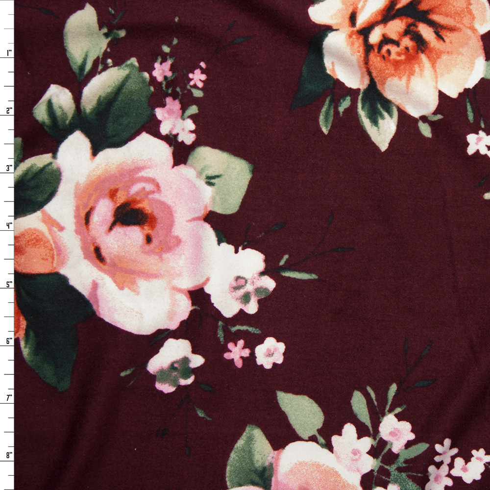 Light Pink and Peach Floral on Solid Wine Double Brushed Poly Spandex Fabric By The Yard