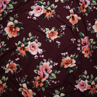 Light Pink and Peach Floral on Solid Wine Double Brushed Poly Spandex Fabric By The Yard - Wide shot