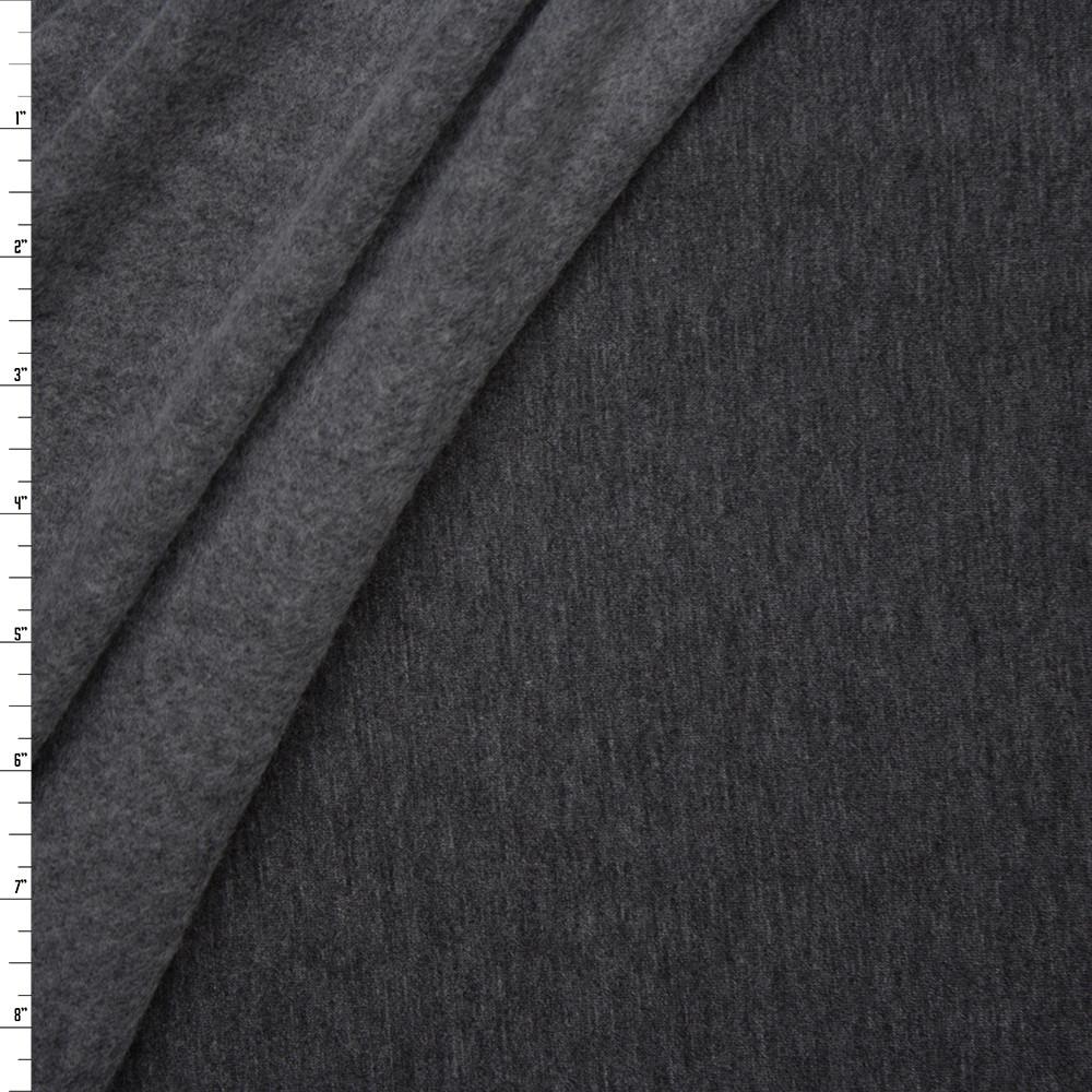 Charcoal Lightweight Stretch Sweatshirt Fleece Fabric By The Yard
