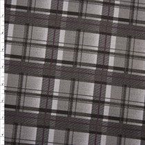 Grey, Black, and Plum Plaid Stretch Twill from 'Hudson Jeans' Fabric By The Yard