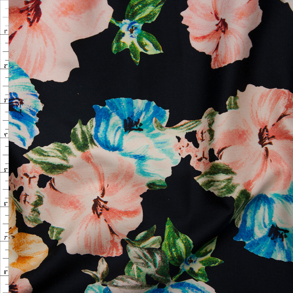 Coral, Light Blue, and Yellow Brushstroke Floral on Black Stretch Sateen from '7 for All Mankind' Fabric By The Yard