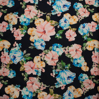 Coral, Light Blue, and Yellow Brushstroke Floral on Black Stretch Sateen from '7 for All Mankind' Fabric By The Yard - Wide shot