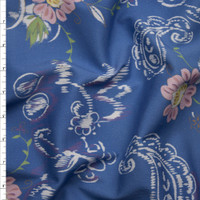 Lilac Flowers and White Paisleys on Light Blue Stretch Midweight Twill from 'Hudson Jeans' Fabric By The Yard