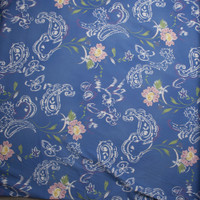 Lilac Flowers and White Paisleys on Light Blue Stretch Midweight Twill from 'Hudson Jeans' Fabric By The Yard - Wide shot
