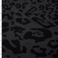 Black Small and Large 50/50 Leopard Print Stretch Denim from 'Hudson Jeans' Fabric By The Yard