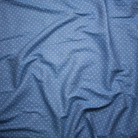White on Light Blue Polka Dot Lightweight Rayon Chambray Fabric By The Yard - Wide shot