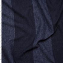 Navy Blue Wide Stripe Lightweight Jersey Knit Fabric By The Yard