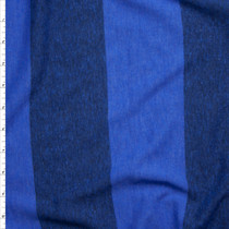 Bright Blue Wide Stripe Lightweight Jersey Knit Fabric By The Yard
