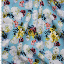 White Roses and Colorful Flowers on Aqua Stretch Liverpool Print Fabric By The Yard