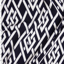 White Braided Knot on Navy Blue Liverpool Knit Fabric By The Yard