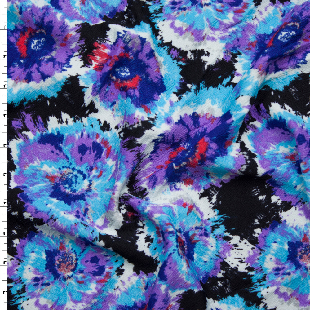 Cali fabrics light blue and purple brushed flowers on black light blue and purple brushed flowers on black liverpool knit fabric by the yard izmirmasajfo
