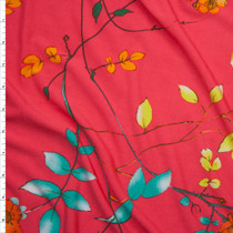 Bright Orange, Yellow and Aqua Flowers and Branches on Neon Red Lightweight Poly Knit Fabric By The Yard