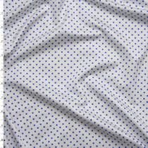Blue on White Mini Polka Dot Stretch Nylon/Lycra Fabric By The Yard