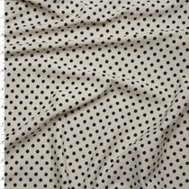 Black on Ivory Mini Polka Dot Stretch Nylon/Lycra Fabric By The Yard