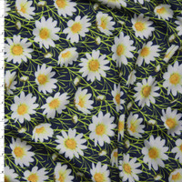 White and Yellow Daisies on Navy Blue Stretch Nylon/Lycra Fabric By The Yard