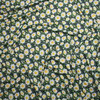 White and Yellow Daisies on Navy Blue Stretch Nylon/Lycra Fabric By The Yard - Wide shot