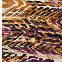 Plum, Caramel, and Black Layered Paint Daub Print Double Brushed Poly Spandex Fabric By The Yard