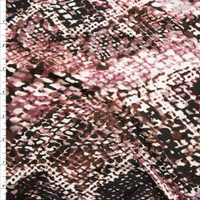 Dusty Rose, Brown, and Black Snakeskin Print Double Brushed Poly Spandex Fabric By The Yard