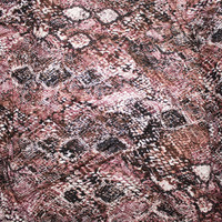 Dusty Rose, Brown, and Black Snakeskin Print Double Brushed Poly Spandex Fabric By The Yard - Wide shot