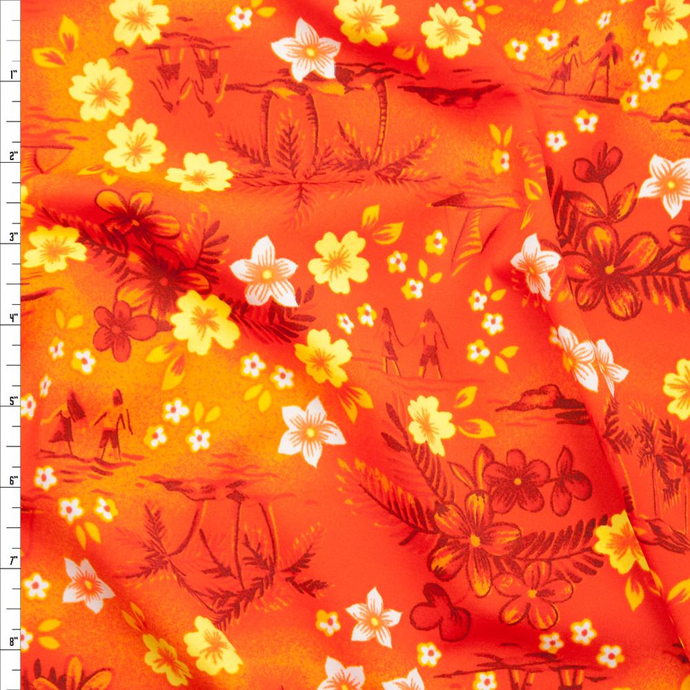 Cali Fabrics Bright Orange And Yellow Tropical Spandex Print Fabric