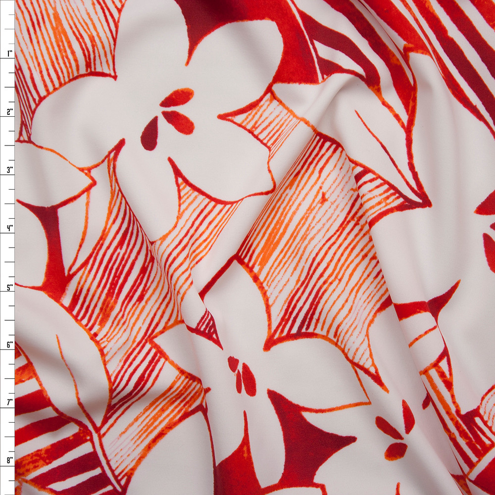 Cali Fabrics Red And White Tropical Flower Patchwork Spandex Print