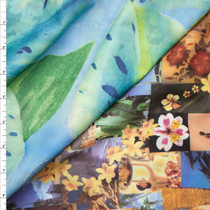 Reversible Tan and Aqua Island Heavyweight Spandex Print Fabric By The Yard