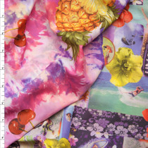 Reversible Pink and Yellow Island Heavyweight Spandex Print Fabric By The Yard