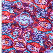 Vibrant Purple, Red, and Aqua Paisley Print Liverpool Knit Fabric By The Yard