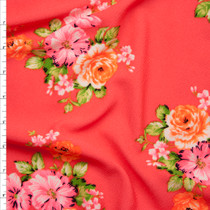 Neon Pink and Orange on Neon Coral Floral Print Liverpool Knit Fabric By The Yard