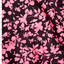 Neon Pink and Black Leaves and Flowers Silhouette Techno Knit Fabric By The Yard