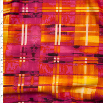 Hot Pink, Orange, and Yellow Grunge Plaid 4-way Stretch Techno Knit Fabric By The Yard