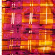 Hot Pink, Orange, and Yellow Grunge Plaid 4-way Stretch Techno Knit Fabric By The Yard