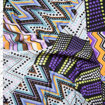 Purple and Yellow Mixed Pattern Patchwork Stretch ITY Fabric By The Yard