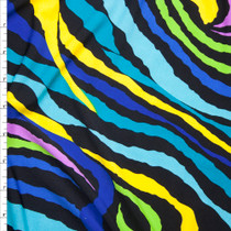 Blue, Purple, and Yellow Zebra Print Stretch Poly Jersey Knit Fabric By The Yard